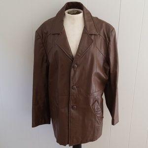 Mens Leather 42R vintage jacket coat
